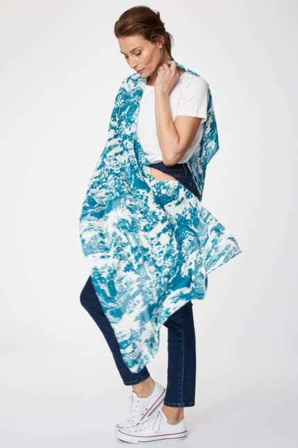 Thought bambusový šátek toile de jouy modrý