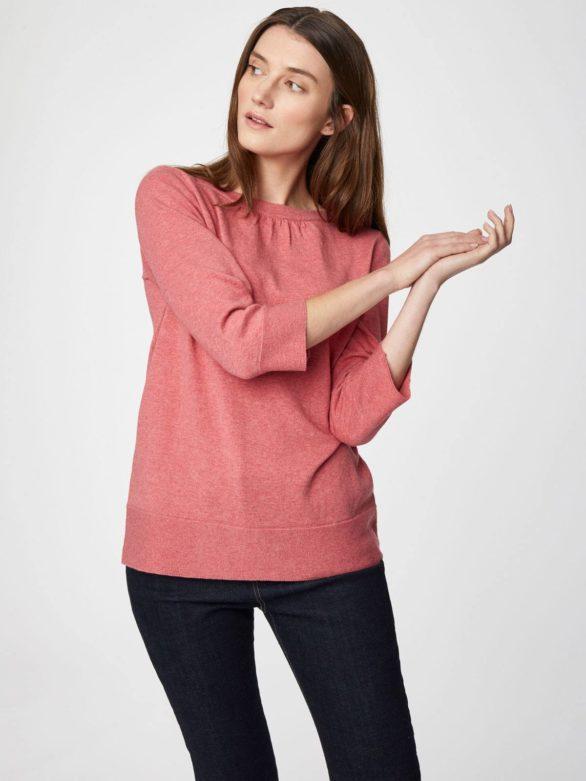 Thought svetr s vlnou lula růžový