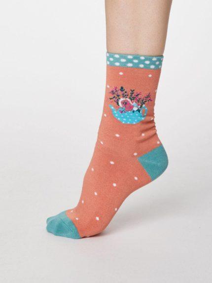 Thought dámské bambusové ponožky flora oranžové