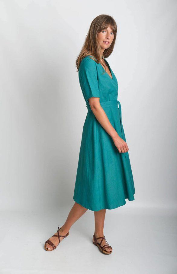Bibico zavinovací šaty se lnem ida zelené