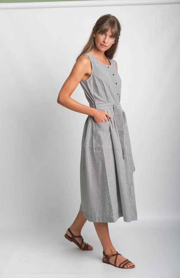 Bibico Šaty se lnem margot s proužky