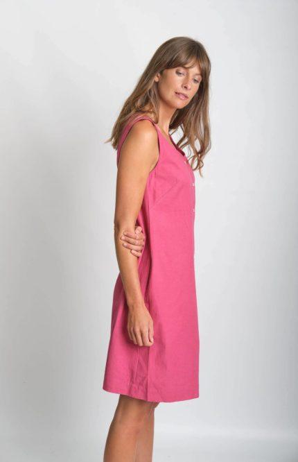 Bibico Šaty erine se lnem růžové