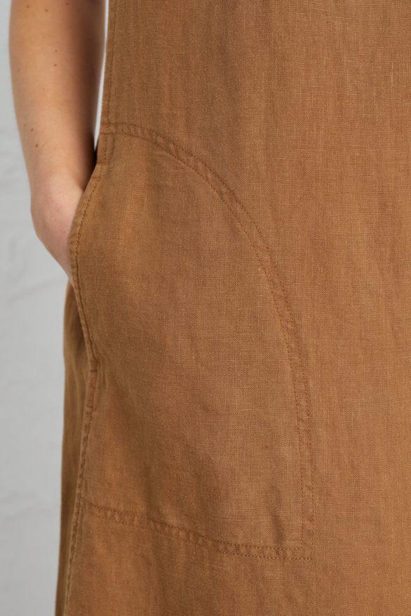 Seasalt Cornwall lněné šaty primary hnědé