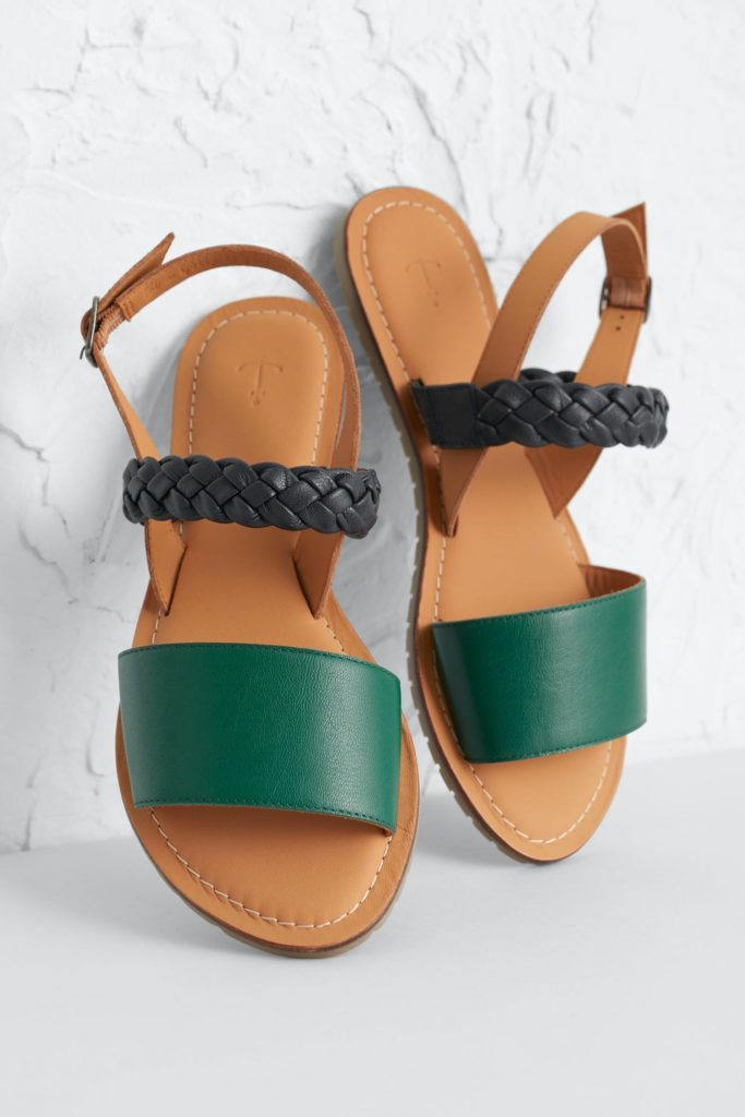 Seasalt Cornwall kožené sandály kelpie zelené