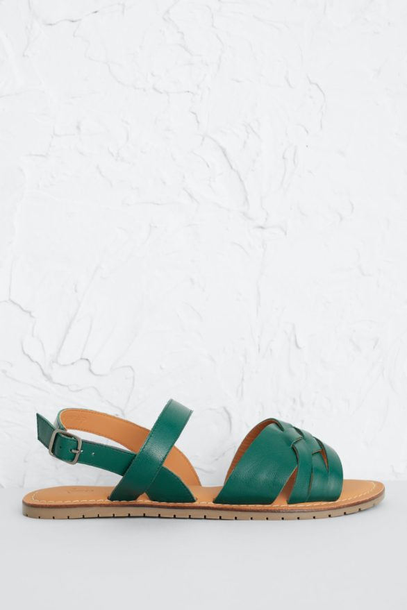 Seasalt Cornwall kožené sandály chapel down zelené