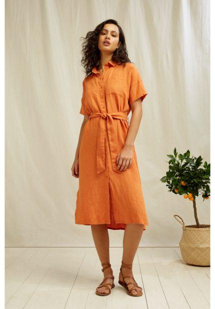 People Tree košilové lněné šaty leanora