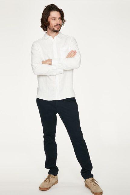 Thought pánská konopná košile paolo bílá