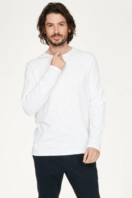 Thought pánské tričko s dlouhým rukávem z bio bavlny bílé