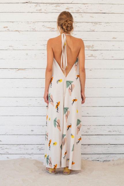 Suite13 dlouhé variabilní šaty se lnem tapioca print