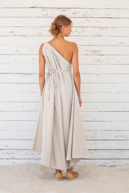 Suite13 dlouhé variabilní šaty se lnem tapioca