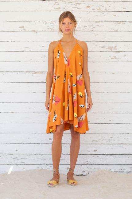 Suite13 krátké variabilní šaty se lnem apricot print