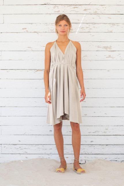 Suite13 krátké variabilní šaty se lnem tapioca