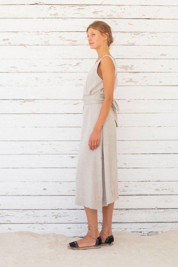 Suite13 tencelové šaty se lnem vista stripe