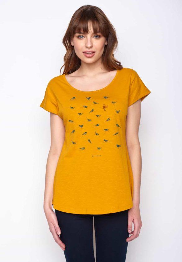 Greenbomb dámské tričko birds sitting žluté