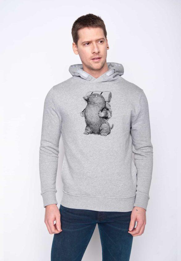 Greenbomb mikina s kapucí mole šedá