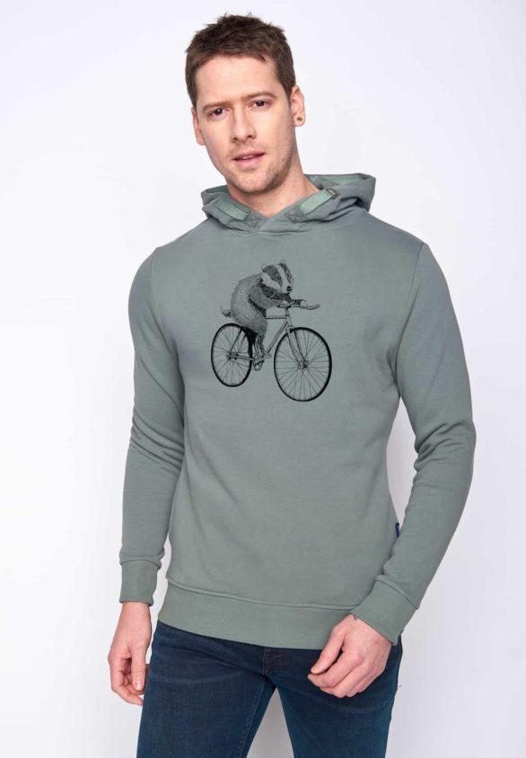 Greenbomb mikina s kapucí bike badger zelená