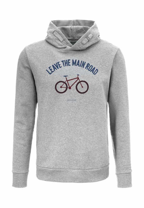 Greenbomb mikina s kapucí bike leave road šedá