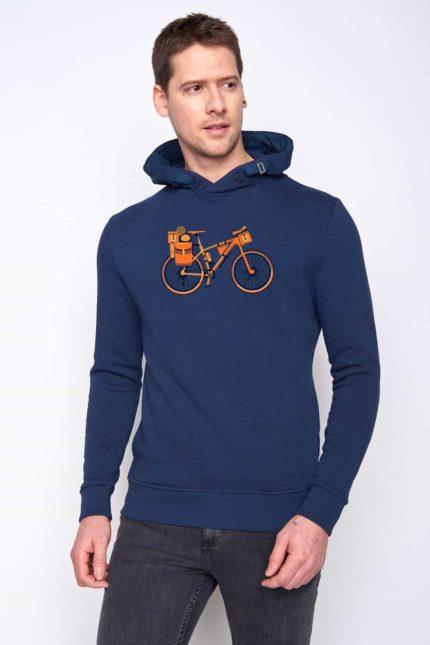Greenbomb mikina s kapucí bike nomad modrá