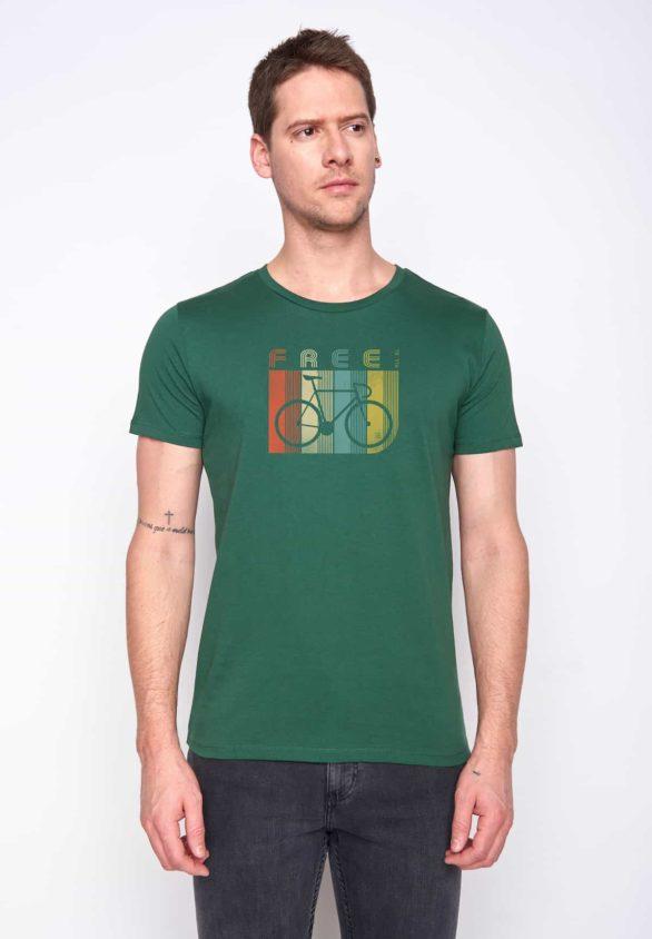 Greenbomb tričko retro bike stripes zelené