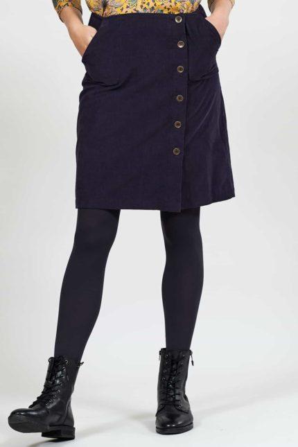 Nomads manšestrová sukně s knoflíky fialová