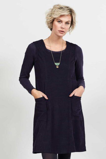 Nomads manšestrové pinafore šaty aubergine
