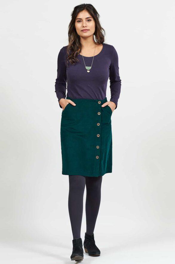 Nomads manšestrová sukně s knoflíky zelená