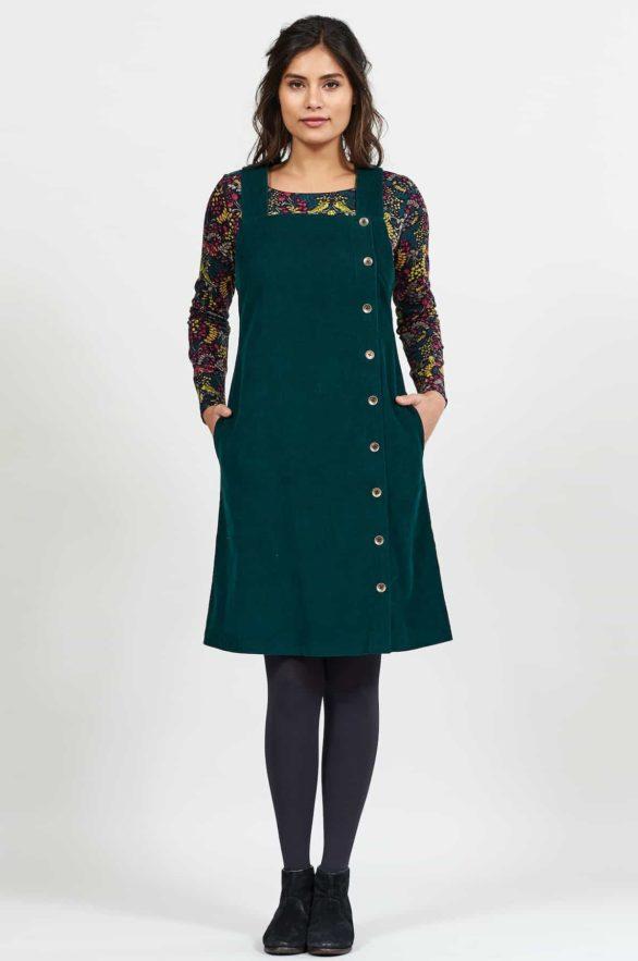 Nomads manšestrové pinafore šaty s knoflíky zelené