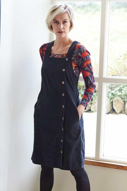 Nomads manšestrové pinafore šaty s knoflíky šedé