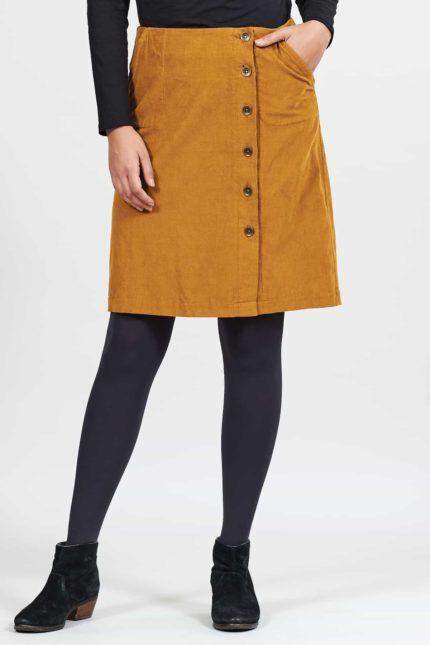 Nomads manšestrová sukně s knoflíky okrová