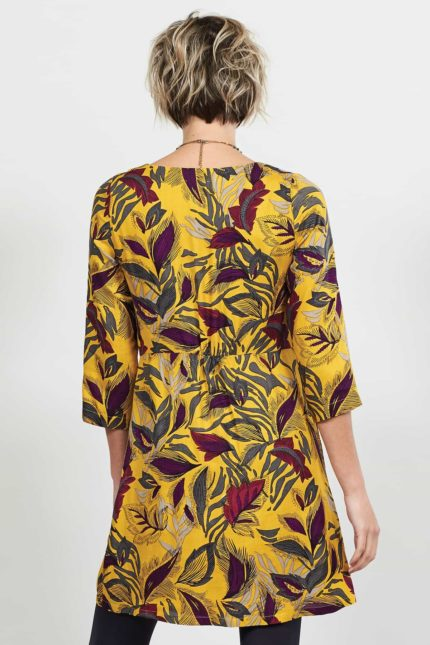 Nomads tunikové šaty dancing leaves žluté