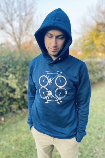 Greenbomb mikina s kapucí bike shape modrá