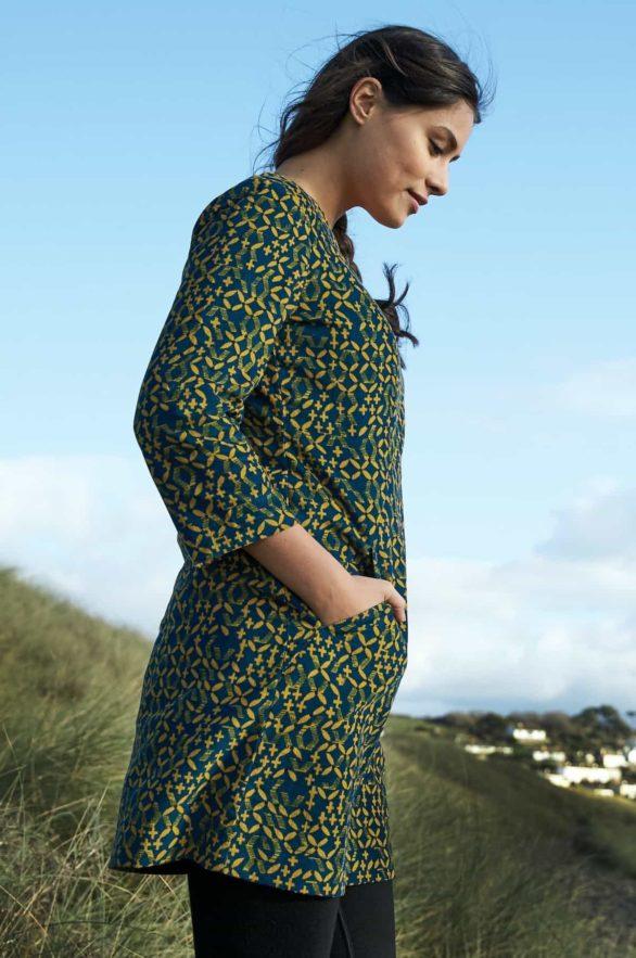 Nomads manšestrové tunikové šaty lattice