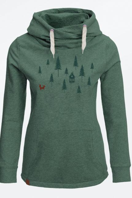 Greenbomb dámská mikina forest fox zelená