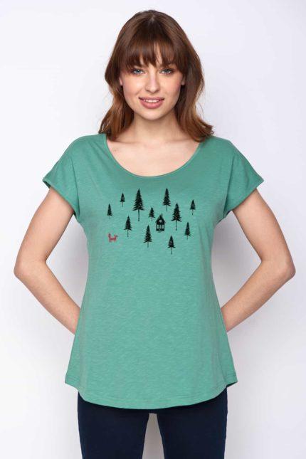 Greenbomb dámské tričko forest fox zelené