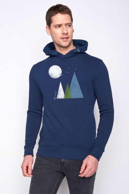 Greenbomb mikina s kapucí nature hills modrá