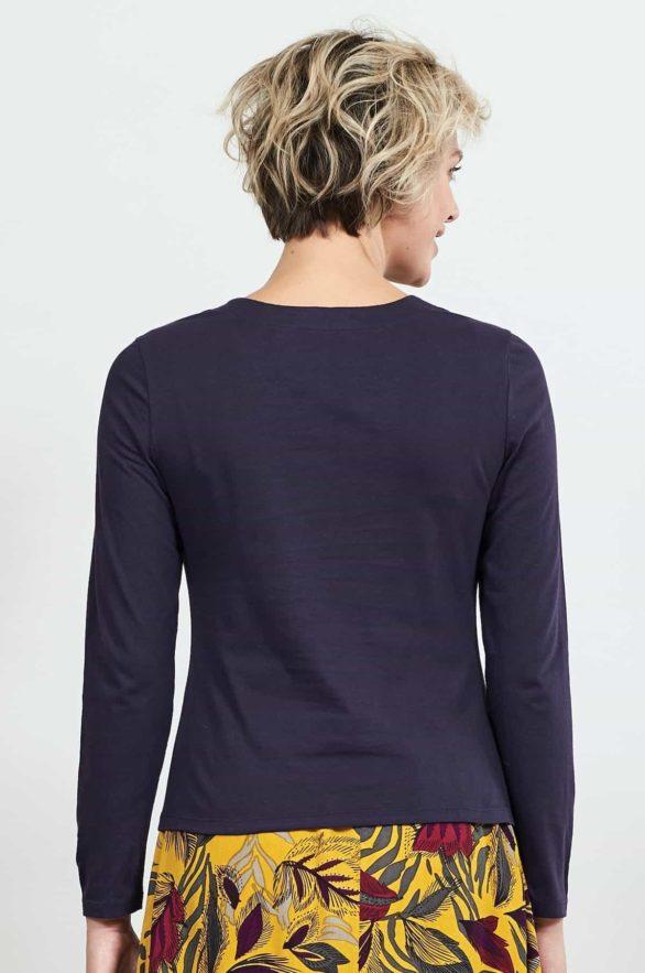 Nomads top s řasením z bio bavlny fialový