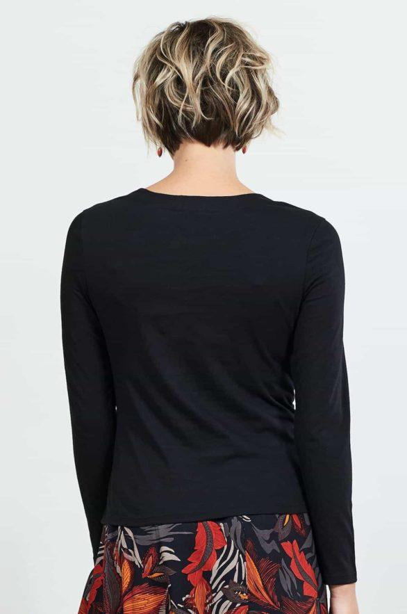 Nomads top z bio bavlny s řasením černý