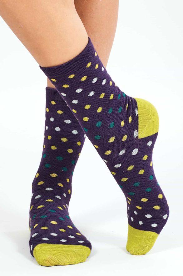 Nomads dámské ponožky z bio bavlny spotty fialové