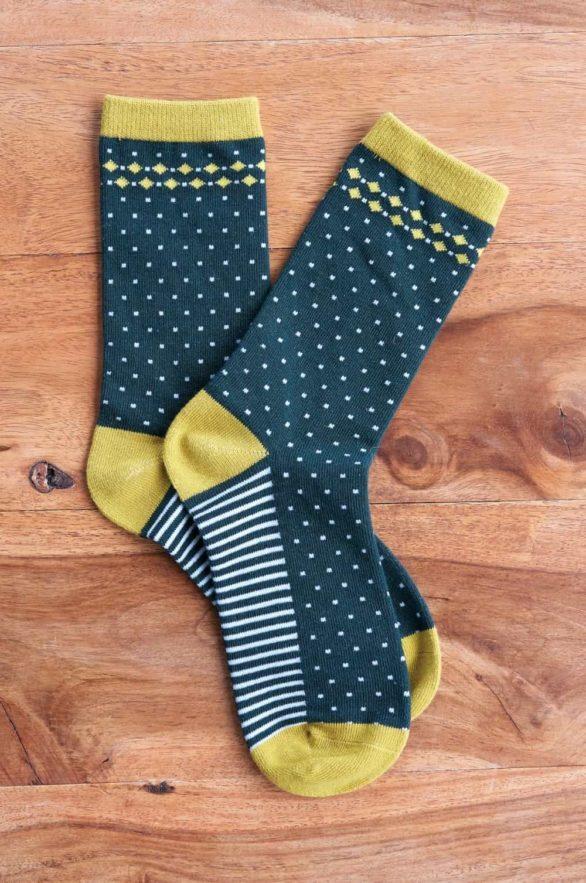 Nomads dámské ponožky z bio bavlny stripe and spot žluté