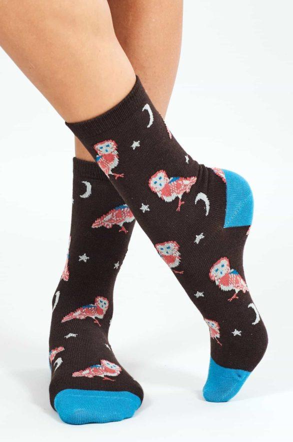 Nomads dámské ponožky z bio bavlny owl hnědé
