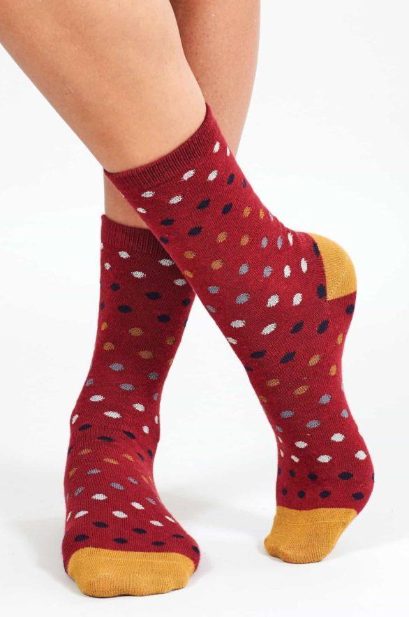 Nomads dámské ponožky z bio bavlny spotty červené