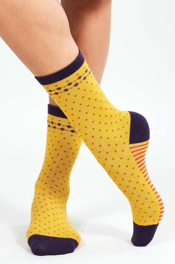 Nomads dámské ponožky z bio bavlny stripe and spot zelené