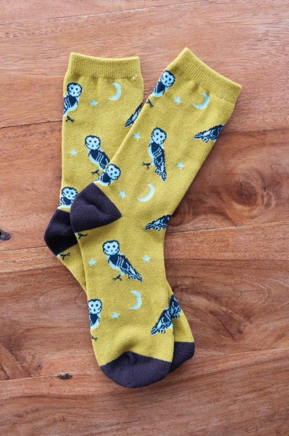 Nomads dámské ponožky z bio bavlny owl žluté