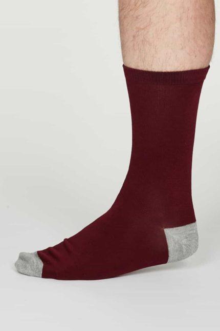 Thought pánské bambusové ponožky jack bordó