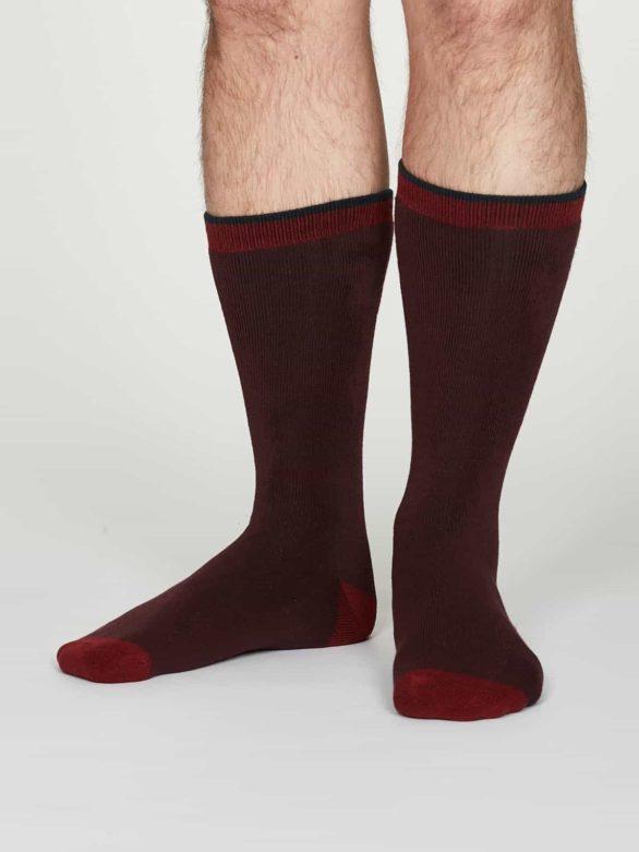 Thought teplé pánské bavlněné ponožky walker bordó