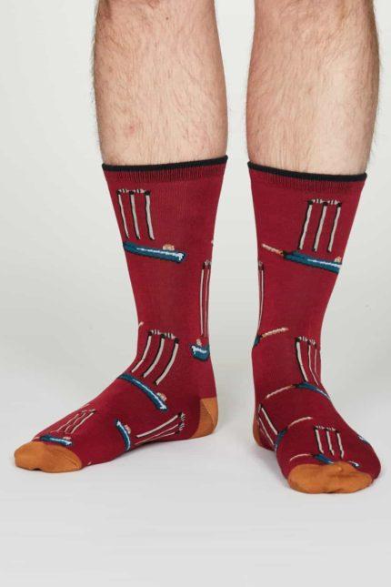 Thought pánské bambusové ponožky perry červené