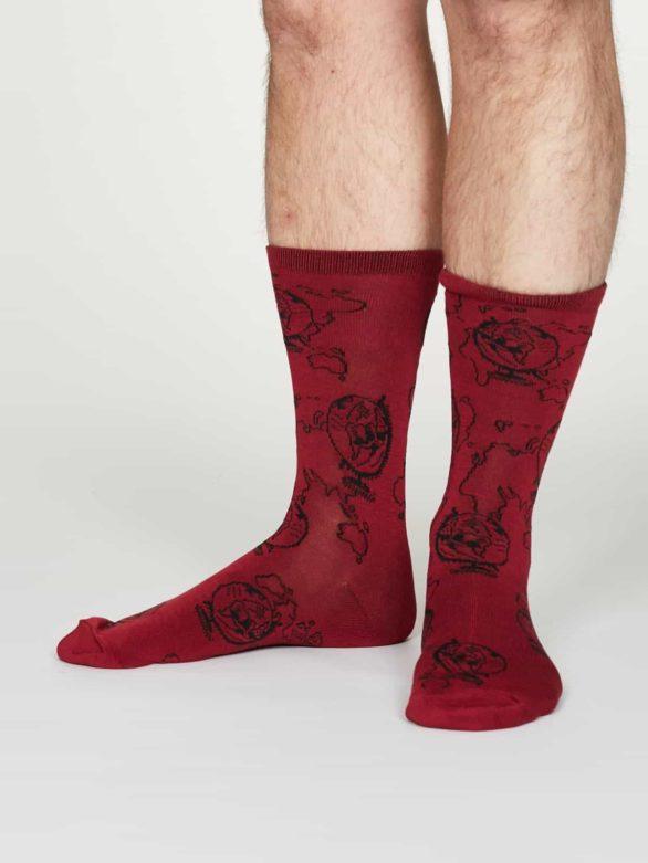 Thought pánské bambusové ponožky thaddens červené