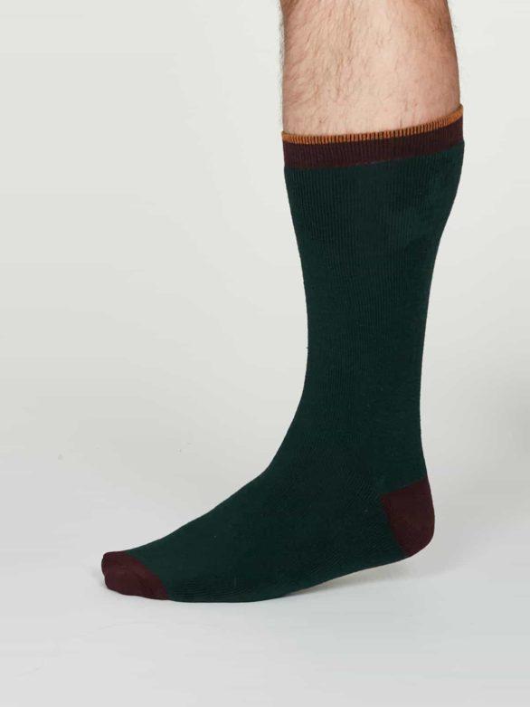 Thought teplé pánské bavlněné ponožky walker zelené