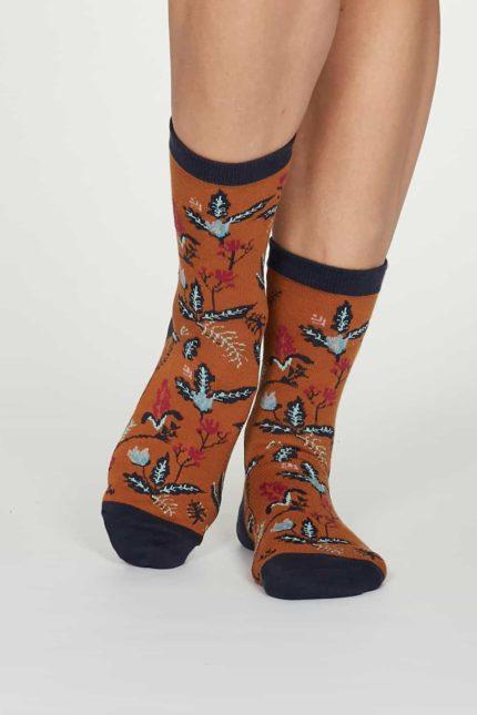 Thought dámské bambusové ponožky margery oranžové
