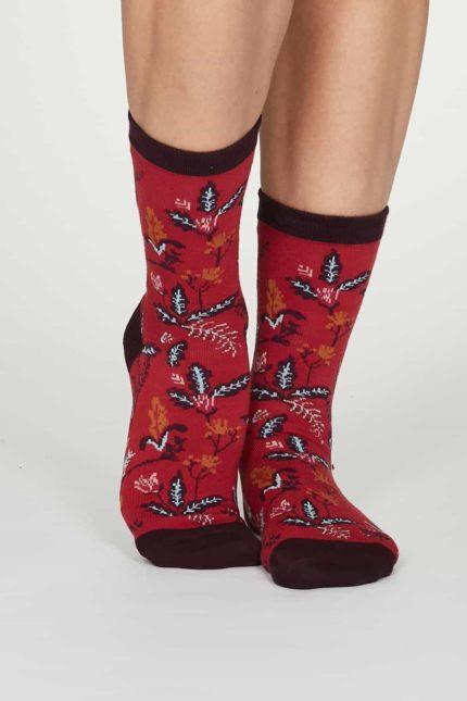 Thought dámské bambusové ponožky margery červené